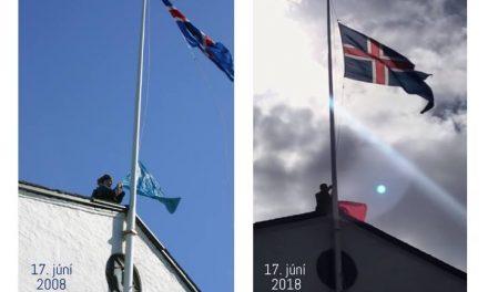 Íslenski fáninn á byggingu stjórnarráðsins klipptur niður